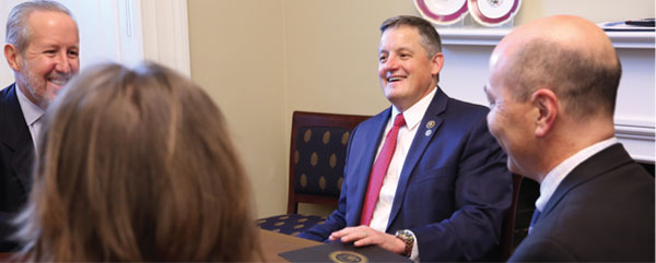 NSPE EXECUTIVE DIRECTOR MARK GOLDEN (TOP LEFT) AND OTHER NSPE LEADERS MET WITH REP. BRUCE WESTERMAN, P.E. (R-AR) IN THE US CAPITOL.