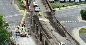 syracuse.com ‏Verified account @syracusedotcom Jul 17  Inspection found cracked, flaking sidewalls at site of Syracuse rail bridge collapse