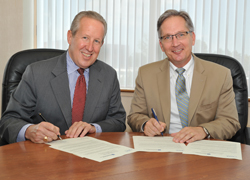 NSPE Executive Director Mark Golden (left) and American Society of Plumbing Engineers Executive Director and CEO Jim Kendzel