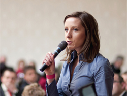 Woman speaking to an audience