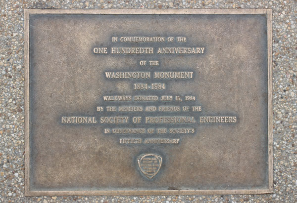 In 1984, to commemorate the monument's 100th anniversary and celebrate NSPE's 50th, NSPE donated the funds for the walkways that surround the Monument and connect it with other well-known sites around the National Mall